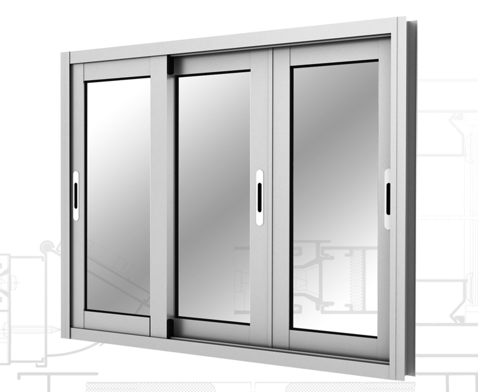 Окна раздвижные алюминиевые